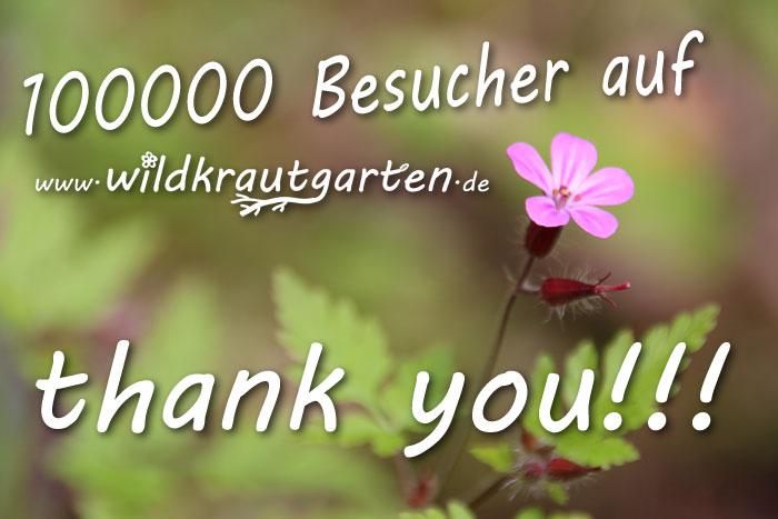 100000 Besucher auf wildkrautgarten.de. Thank you!